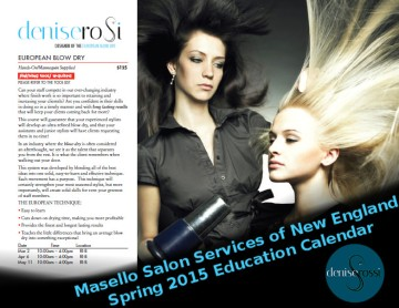 Masello Salon Services of New England Spring 2015 Education Calendar with Denise Rossi and her European Blow Dry Technique
